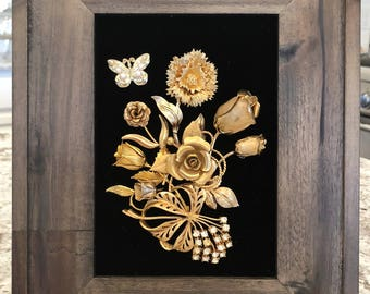 Vintage & Costume Jewelry Framed Flower Art with Butterfly