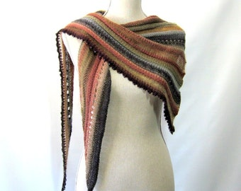 Merino Mohair Skinny Triangle Shawl Style Scarf Neckwrap with Beads  -  Tan, Brown, Slate Gray and Sage Mochi