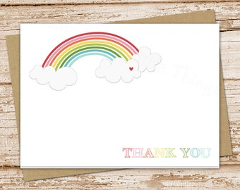 rainbow thank you cards for girls . folded note cards . notecards . clouds & heart stationery . over the rainbow . blank cards . set of 8