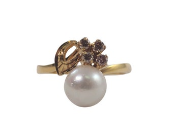 14k Yellow Gold Pearl and Diamond Ring, Pearl Ring, Estate Jewelry, Vintage Ring, Vintage Jewelry, June Birthstone