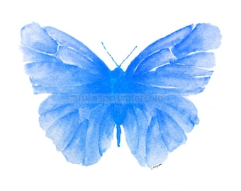 blue butterfly watercolor archival print
