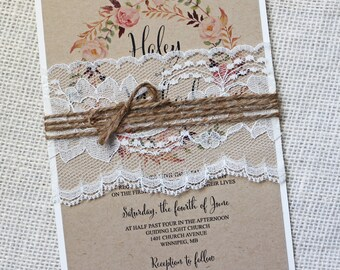 Rustic Lace Wedding Invitation, Lace Wedding Invitation, Boho Wedding Invitation, Vintage, Shabby Chic Wedding Invitation, Kraft