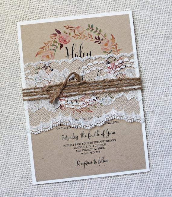 Rustic Lace Wedding Invitation Boho