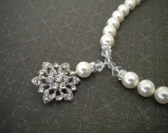 Bridal Pearl Necklace, Bridal necklace, rhinestone necklace, Rhinestone Pendant The DANA