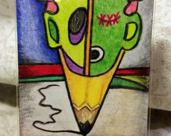 Whimsical Zombie Frankenstein Monster Head Pencil Punk Halloween ACEO Original Art Card in pink purple green blue