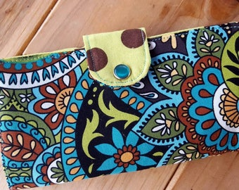 Paisley Checkbook Cover, Green and Teal  Checkbook Cover, Coupon Wallet, Fabric Checkbook, checkbook with snap