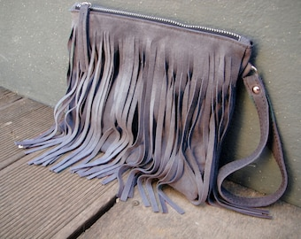 Gray suede  clutch with fringes