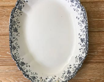 LARGE Antique Ironstone Platter blue and white transferware Bridgewood & Son farmhouse antiques