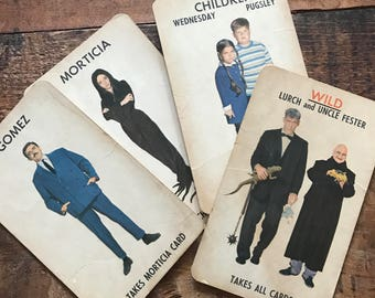 Vintage Milton Bradley Addams Family Game Cards - Set of 4 - Oversized Cards - Halloween, Morticia, Gomez, Wednesday, Pugsley, Lurch, Fester