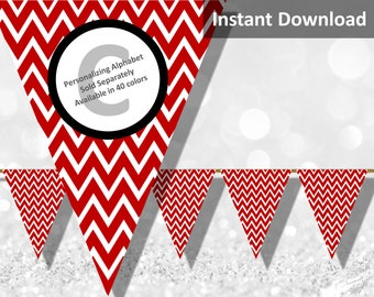 Crimson Red Chevron Bunting Pennant Banner Instant Download, Party Decorations