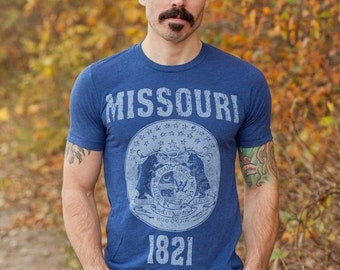 Missouri State Seal T-Shirt. Vintage Style Soft Retro Midwestern Shirt Unisex Men's Slim Fit and Women's Tee