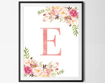 Nursery Print, Floral Monogram, Initial Art, Watercolor, Boho, Floral, Printable, Wall Art, Nursery Art, Blush, Pink