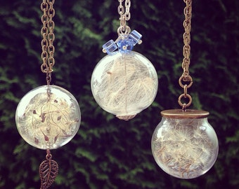 Make a Wish Glass Pendant, Dandelion Seed Necklace, Glass Globe Necklace, Glass Terrarium Pendant, Gift Ideas for her, Gift under 30, OOAK