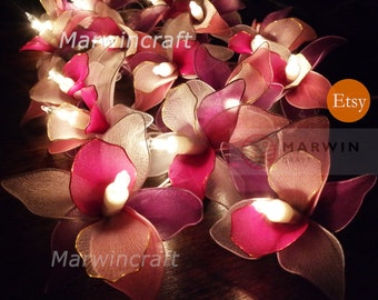 20 White Pink Purple String Lights Orchid Flower Fairy Lights Bedroom Home Decor Living Room Wall Hanging Lights Wedding Decor Battery Plug