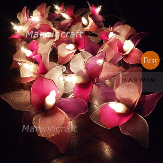 20 white pink purple string lights orchid flower fairy lights mightylinksfo Choice Image