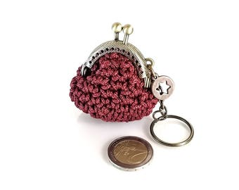 Keychain with handmade tiny crochet bordeaux coin purse , tiny kiss lock coin purse with keychain, keychain, keyring, gift for her