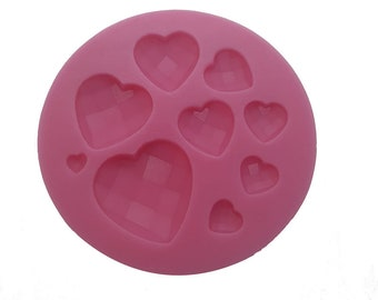 Mini Diamond Heart Embed Mold for Soaps Lotions