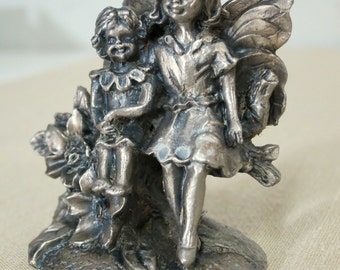 Pewter Fairies, Pewter Garden Fairies, Miniature Pewter, Vintage Pewter, Collectible Garden Fairies -P15