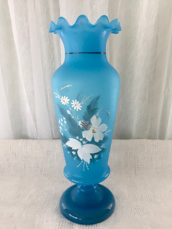 Antique Blue Hand Blown Opalescent Bristol Glass Vase With