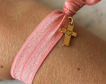 Fold over elastic bracelet, small gold cross charm, coral elastic jewellery, summer accessories, gift for her, friendship bracelet