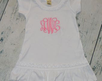 Personalized Girls Ruffle Dress - Monogram dress girls custom dress