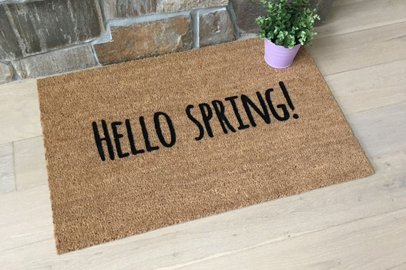 Spring Decor, Hello Spring, Spring Doormat, Easter Gifts, Hostess Gifts, Spring Decor 2017, Spring Decor Ideas, Spring Decorations for Home
