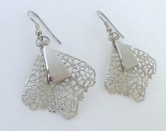 Vintage 1960's Silver Filigree Leaf Statement Earrings