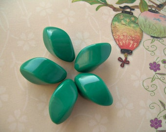 5 Vintage Lucite Beads Teal Green Oblong Twists