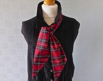 Red tartan scarf, red  plaid scarf, tartan wrist scarf, tartan hair scarf,  Royal Stewart tartan tie