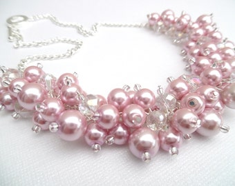 Pink Pearl Beaded Necklace with Crystals, Bridal Jewelry, Cluster Necklace, Chunky Necklace, Bridesmaid Gift, Custom Colours - Pink  Pearls