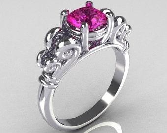 Modern Antique 10K White Gold 1.0 Carat Round Pink Sapphire Designer Solitaire Ring R141-10WGPS