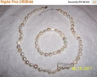 20% OFF VALENTINES SALE Vintage White Fresh water pearls necklace and bracelet set. Sterling silver.