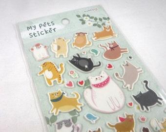 Korean Sticker Sheet Assort PVC Puffy: MY PETS- Cats Dogs Pet Lover Flowers Hearts Stylized Fun Z