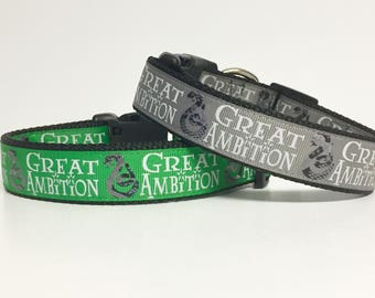 Harry Potter- Slytherin - Great Ambition - I Solemnly Swear that I am up to No Good - Dog Collar - gift for dog - Snape - Holiday