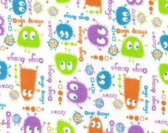 EASTER EGG Ooga Booga, Cotton Interlock Knit Fabric, by the Yard