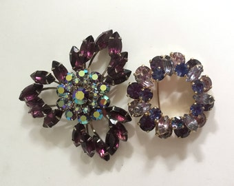 Pair of 2 Vintage Prong Set Quality Amethyst Rhinestone Pins Brooches