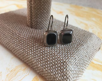 Dangling Silver Toned Metal and Black Earrings -  Black Rectangle Earrings - Southwestern - South West
