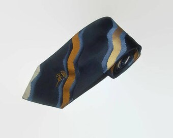 Vintage COUNTESS MARA Repp Tie / Navy, Blue, beige & Gold / 1980s Vintage Mens Tie