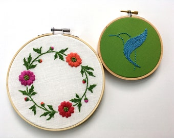 "Floral Wreath hand embroidered by mlmxoxo.  spring flowers. Mother's Day gift.  bird.  butterfly.  hand embroidery hoop art.  6"" hoop art."