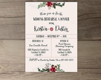 Winter Wedding Rehearsal Dinner Invitations • Wreath • 'Tis the Season to be Married • printable