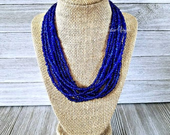 Blue necklace, blue beaded necklace, blue bead necklace, dark blue necklace, dark blue bead necklace, dark blue and silver, dark blue