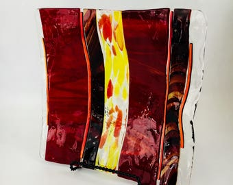 Dramatic Red and Yellow Fused Glass Plate or Platter