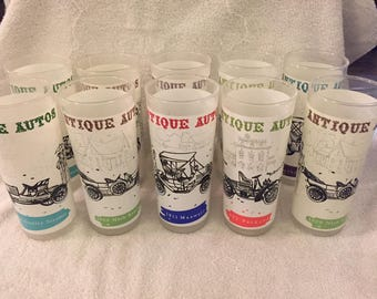 Anchor Hocking Frosted Antique Auto Glasses / Tumblers - Set of 10 vintage