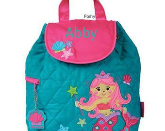 Personalized Girls Backpack, Toddler Backpack, Diaper Bag or Backpack Stephen Joseph Mermaid