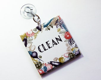 Dishwasher Sign, Sign with suction cup, Works on stainless steel, Clean Dishes Sign, Dirty Dishes Sign, Kitchen Sign, Hostess Gift (7285)