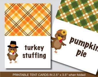 Thanksgiving Food Labels, Thanksgiving Food Tent Cards, Place Cards, Food Tent Labels, Place Setting, Buffet Labels, Thanksgiving Food Tent