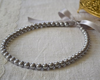 Victoria: CUSTOM Pearl Necklace with Ribbon Tie {bow}