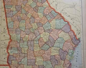 Georgia coast etsy antique map usa georgia florida peerless world atlas 1889 gumiabroncs Images