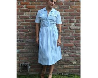 Vintage Midi Dress - Short Sleeve Dress - Collared Dress - Summer Dress - Festival Dress - Candystriper Dress - 60s - 70s