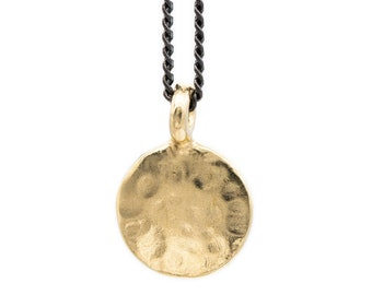 Hammered Brass Circle Charm Necklace